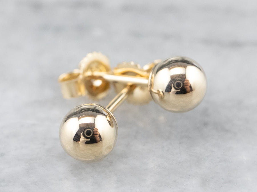 Vintage Gold Ball Stud Earrings