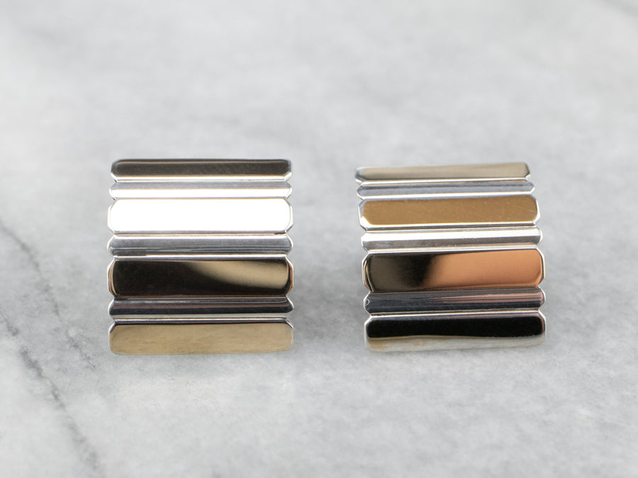 Linear Sterling Silver and Yellow Gold Stud Earrings
