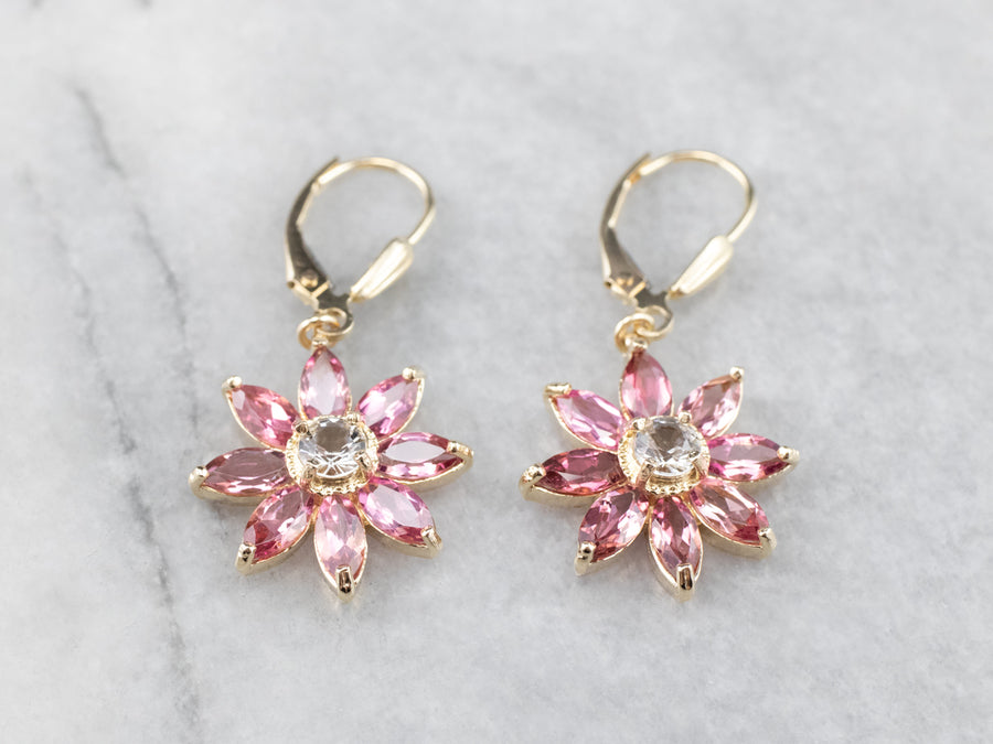 Floral White Sapphire and Pink Tourmaline Drop Earrings