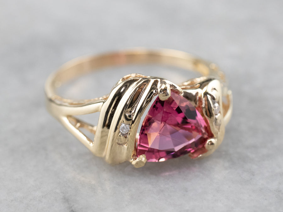 Trillion Cut Pink Tourmaline and Diamond Ring