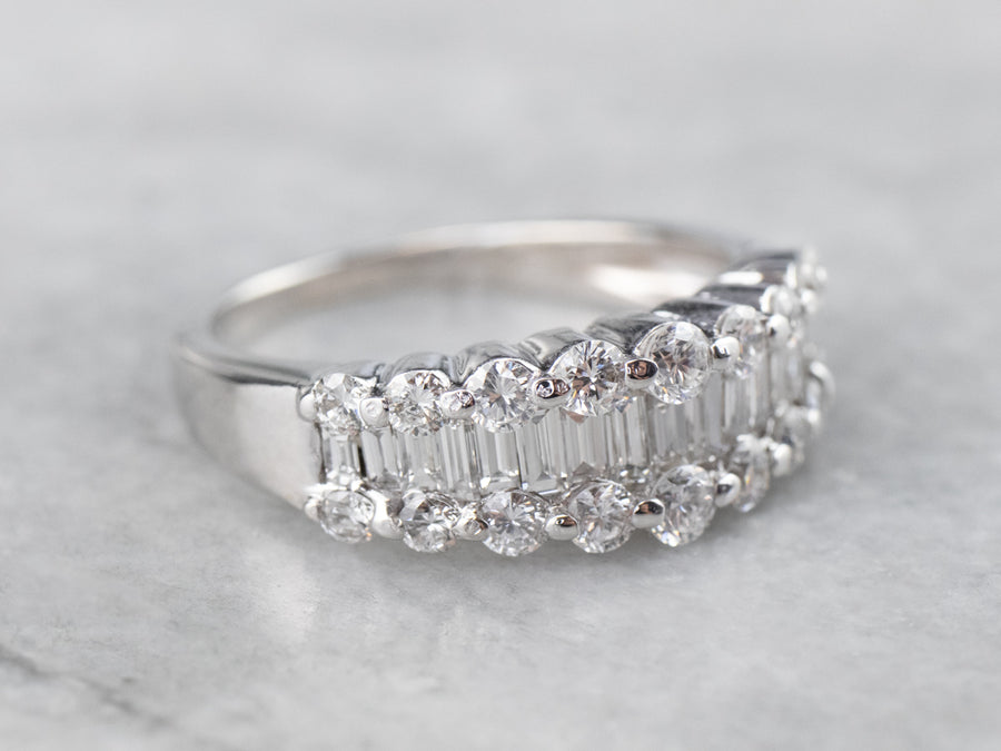 Baguette and Round Cut Diamond Band