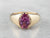 Yellow Gold Pink Sapphire Solitaire Ring