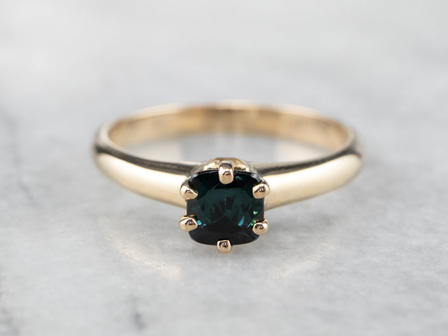 Antique Rose Gold Indicolite Tourmaline Ring