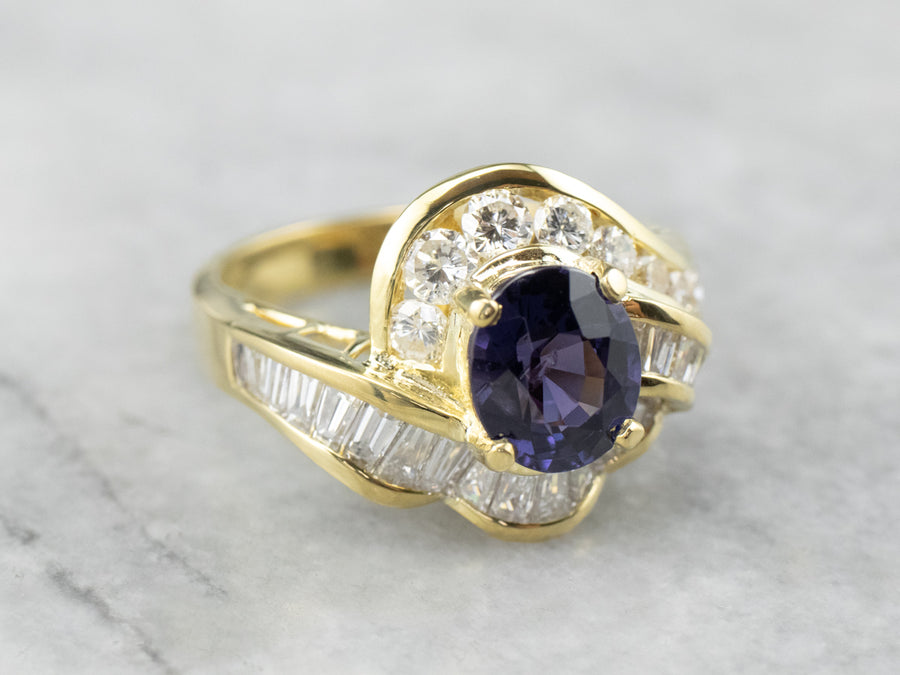 Purple Sapphire and Diamond 18K Gold Ring