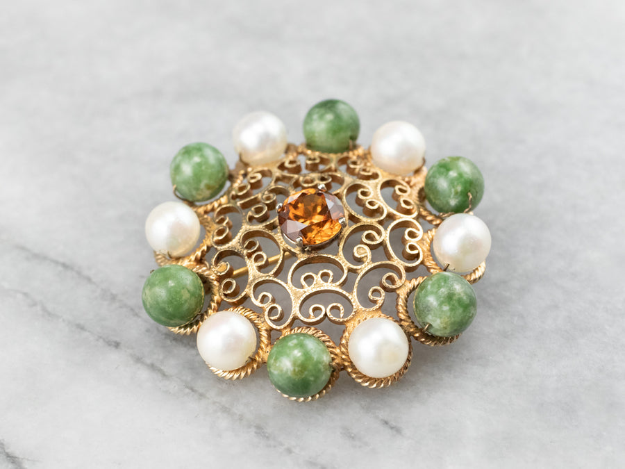 Mid Century Orange Zircon Jade and Pearl Brooch