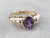 Purple Sapphire and Diamond Ring in Yellow Gold