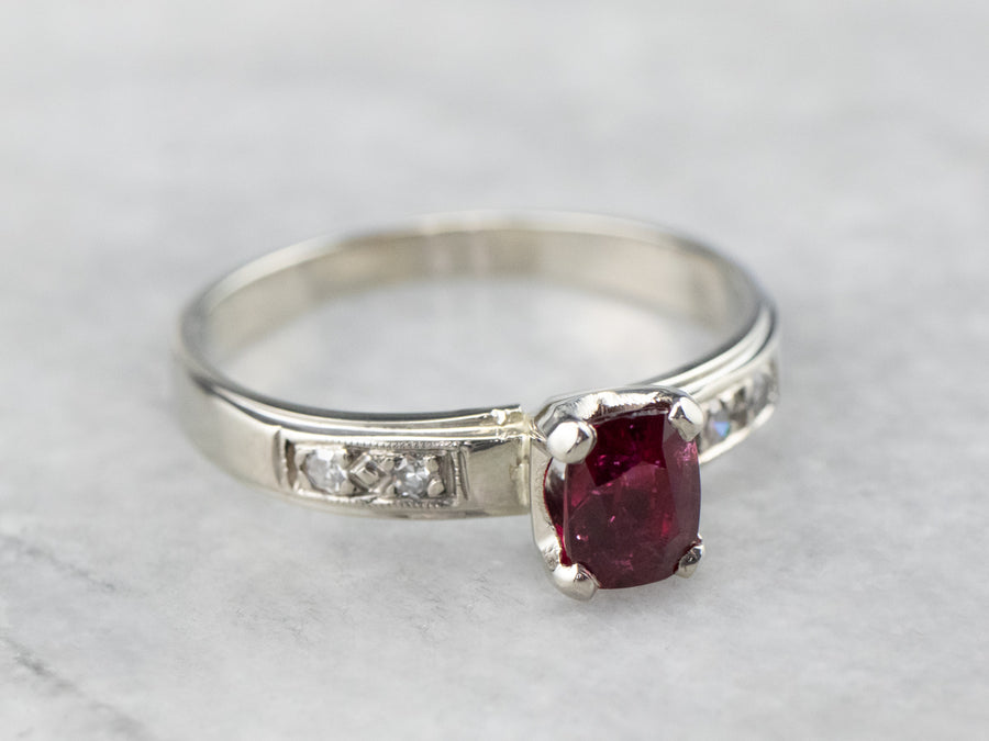 Ruby Diamond White Gold Engagement Ring