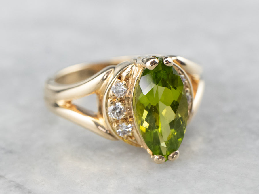 Marquise Cut Peridot Diamond Gold Ring