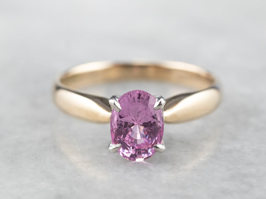Pink Sapphire Solitaire Engagement Ring