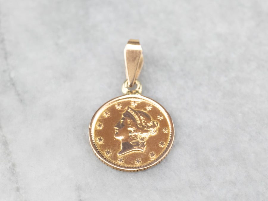 Antique 18K Gold Love Token Pendant