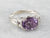 Purple Spinel Diamond White Gold East to West Ring