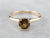 Antique Earthy Demantoid Garnet Gold Solitaire Ring