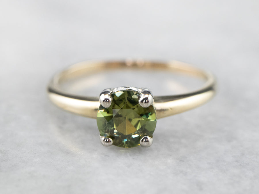 Vintage Demantoid Garnet Gold Solitaire Ring