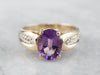 Amethyst Diamond 14K Gold Ring