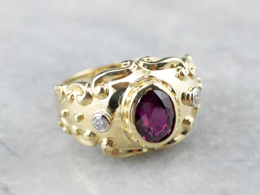 Gold Ruby and Diamond Statement Ring