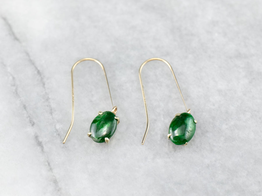 Gold Jadeite Cabochon Drop Earrings