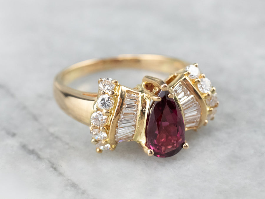 Teardrop Ruby and Diamond 18K Gold Ring