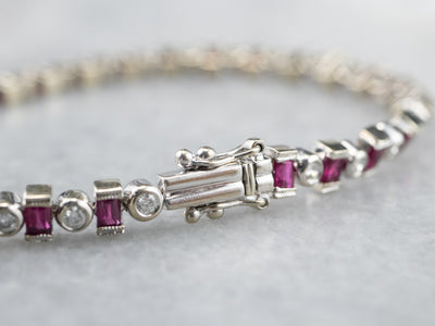 White Gold Modern Ruby and Diamond Bracelet