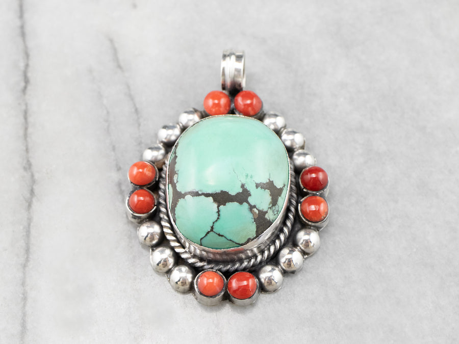 Turquoise Coral Sterling Silver Statement Pendant