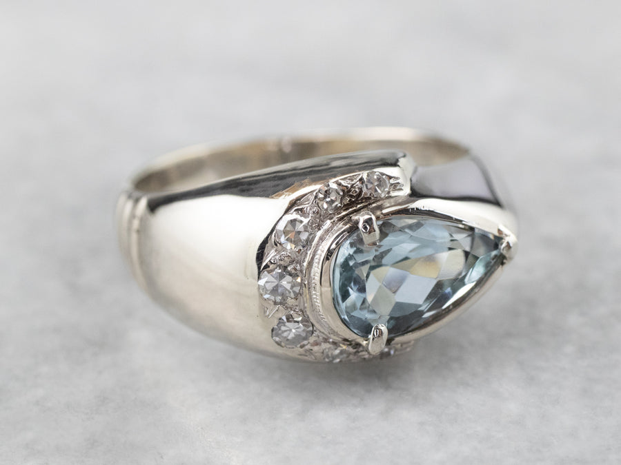 Aquamarine Diamond East to West White Gold Ring