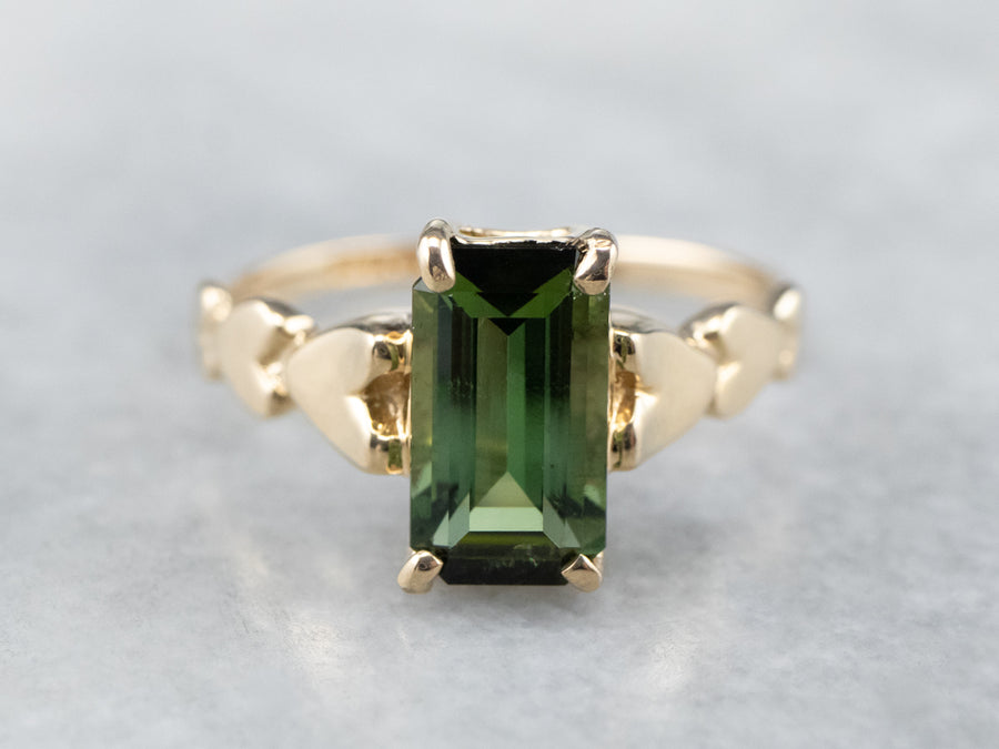 Green Tourmaline Hearts Gold Ring