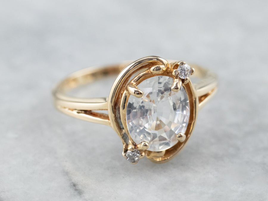 White Sapphire Diamond Gold Engagement Ring