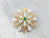 Emerald Opal Ornate Gold Brooch Pendant