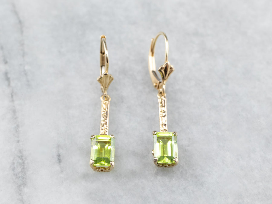 Peridot Gold Bar Drop Earrings