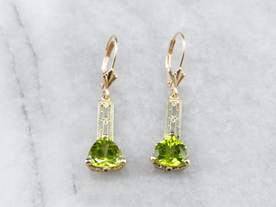 Floral Filigree Peridot Drop Earrings