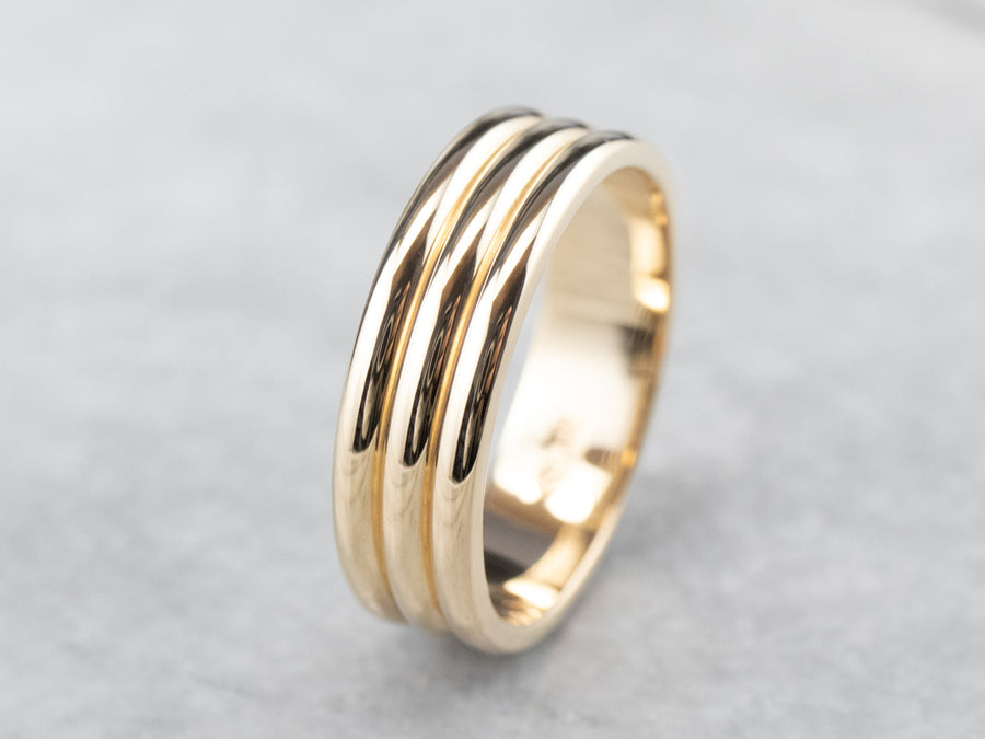 Three Row Gold Band Ring