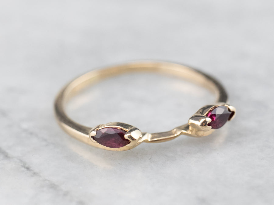 Marquise Cut Ruby Gold Enhancer Ring