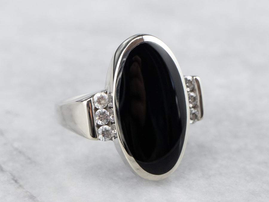 Black Onyx Diamond White Gold Ring