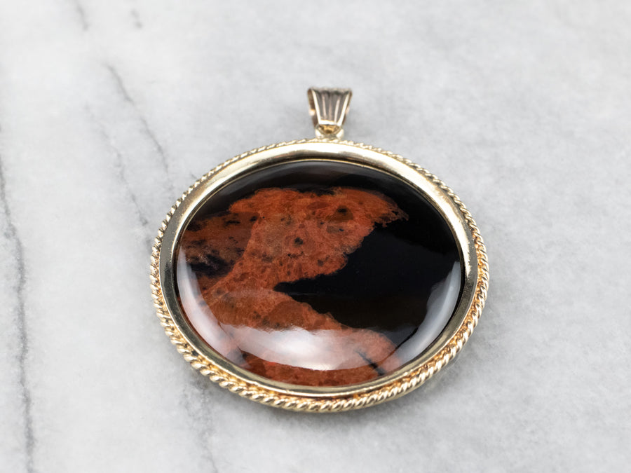Brown Agate Gold Medallion Pendant
