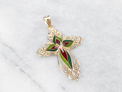 Stained Glass Gold Filigree Cross