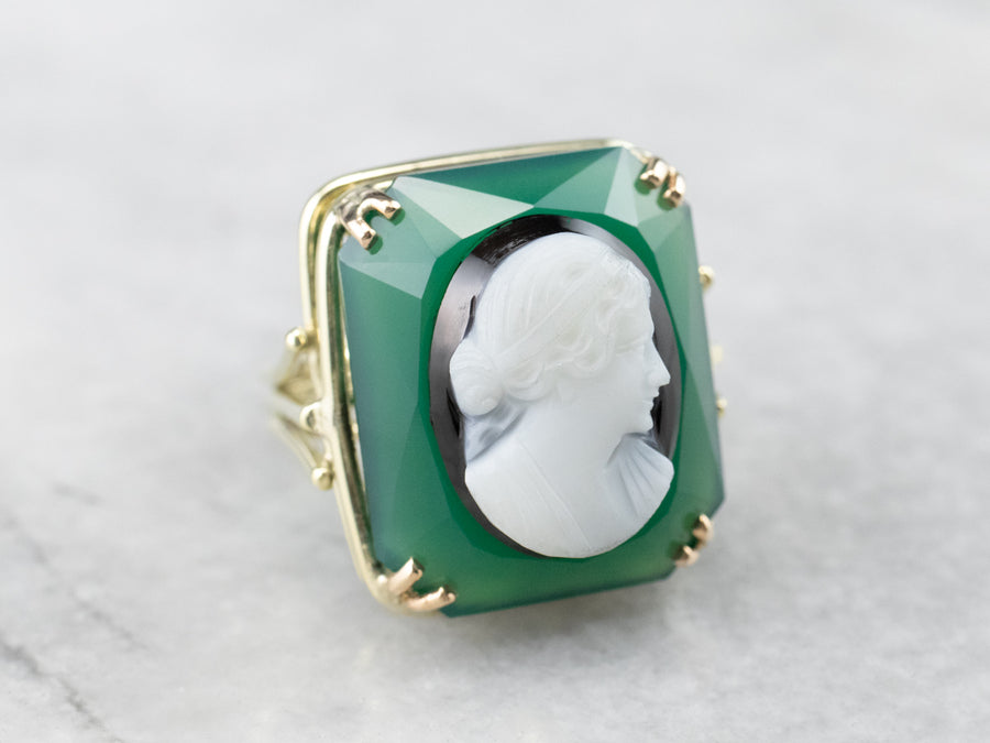 Bold Onyx Cameo Statement Ring
