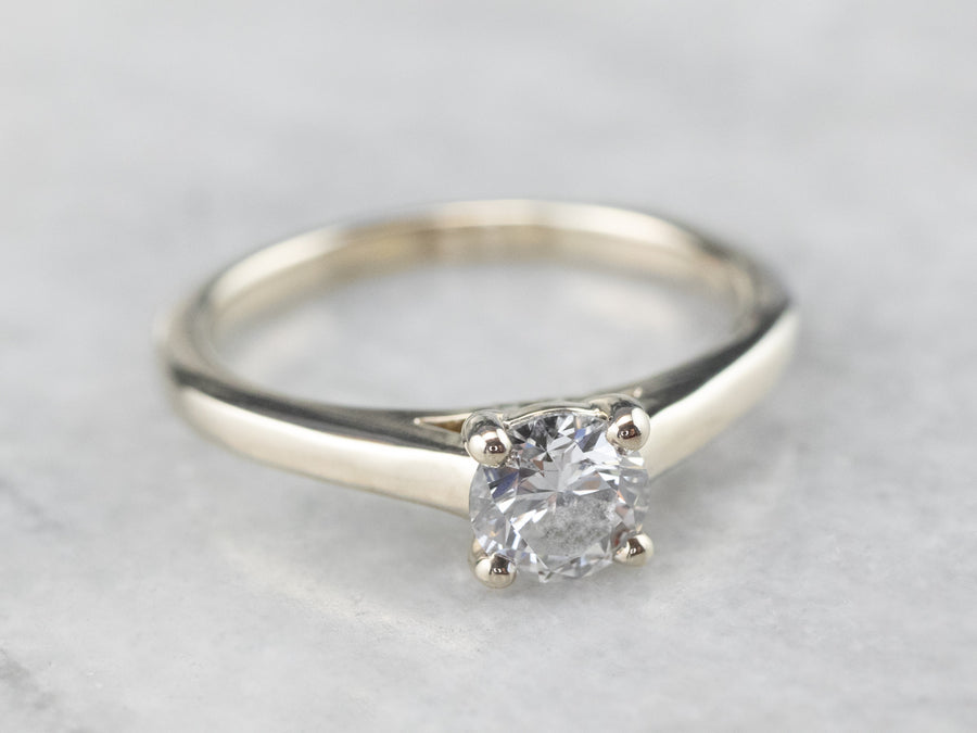 Round Diamond Solitaire White Gold Engagement Ring