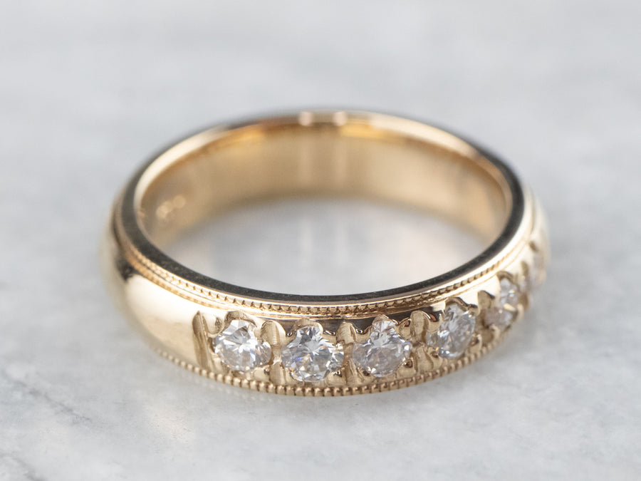 Six Diamond Gold Wedding Band