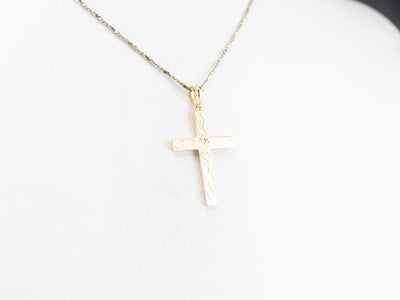 10K Gold Engraved Floral Cross Pendant