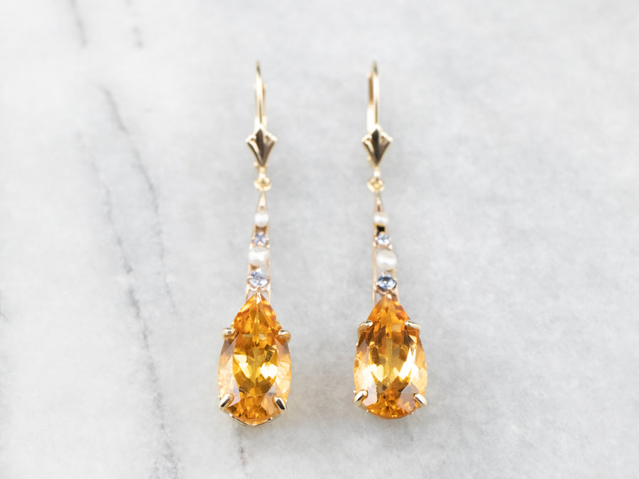 Pear Cut Citrine Gold Bar Drop Earrings