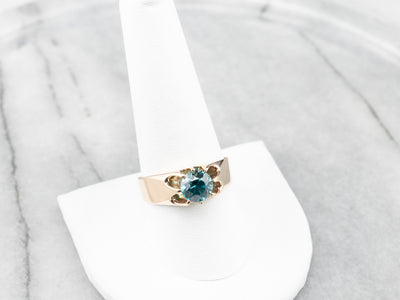 Antique Belcher Set Blue Zircon Gold Ring