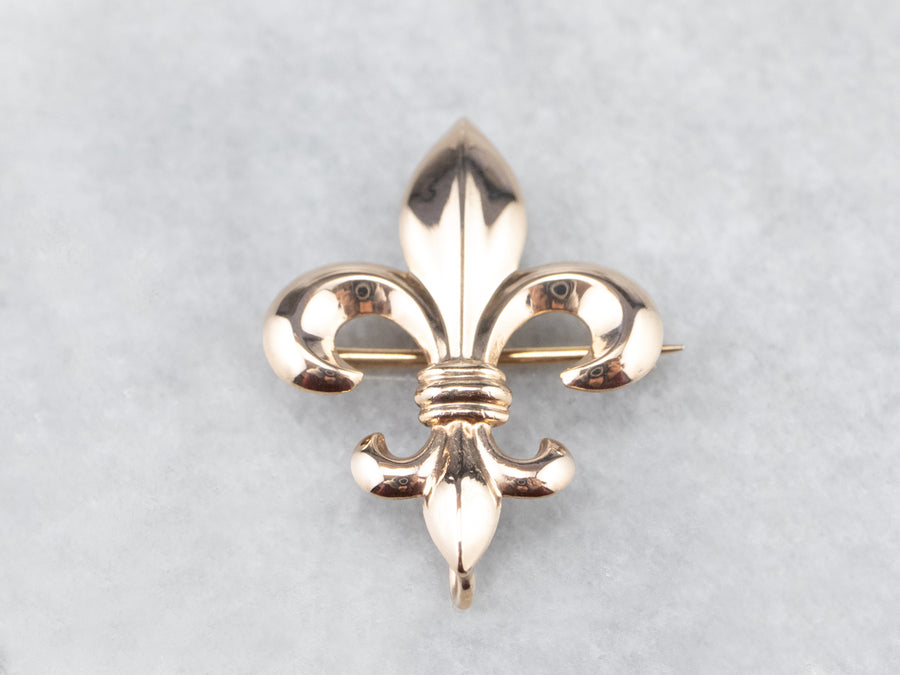 Antique Fleur de Lis Gold Watch Pin
