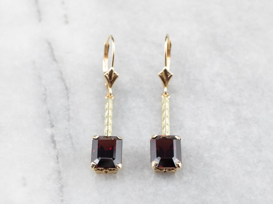 Emerald Cut Garnet Gold Bar Drop Earrings