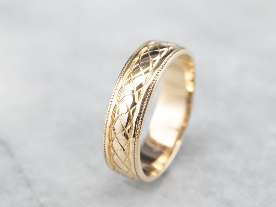 14K Gold Quilted Patterned Wedding Band