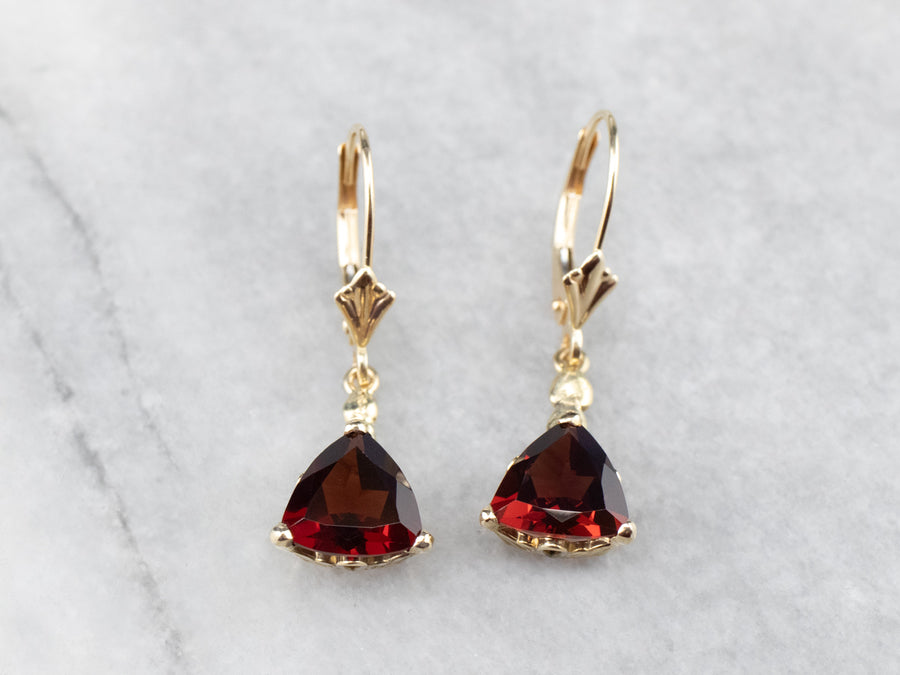 Trillion Cut Garnet Gold Drop Earrings