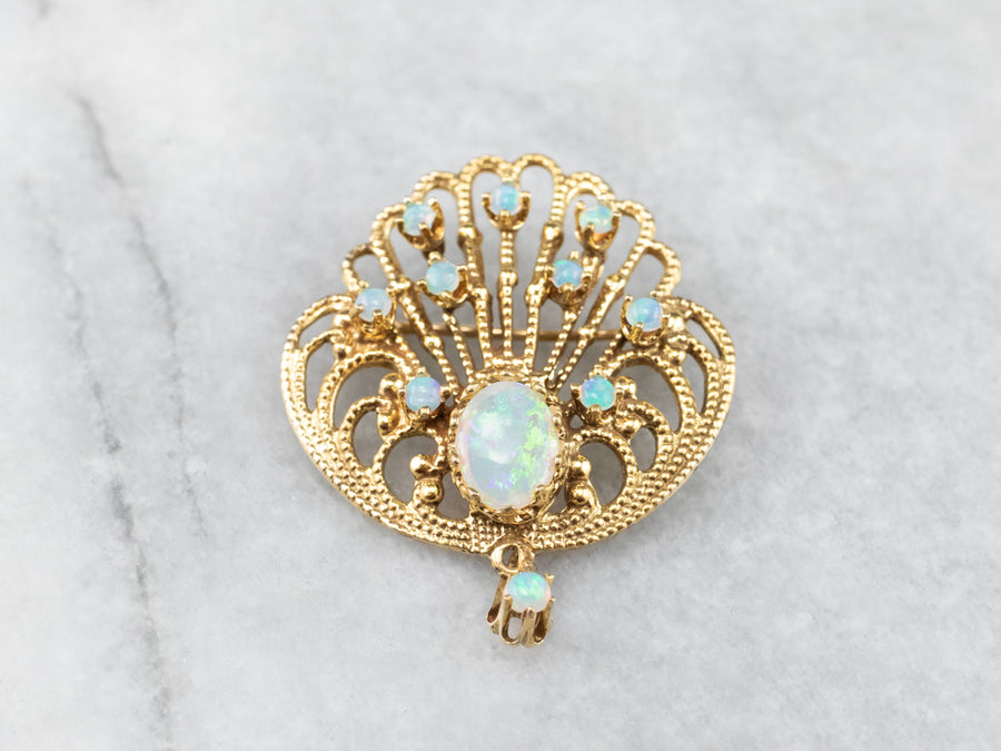 Ornate Opal Gold Filigree Brooch Pendant