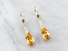 Pear Cut Citrine Gold Filigree Bar Drop Earrings