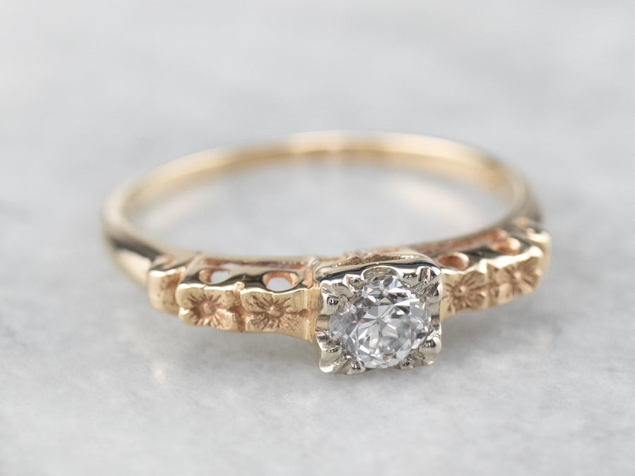Vintage Diamond Floral Solitaire Gold Engagement Ring