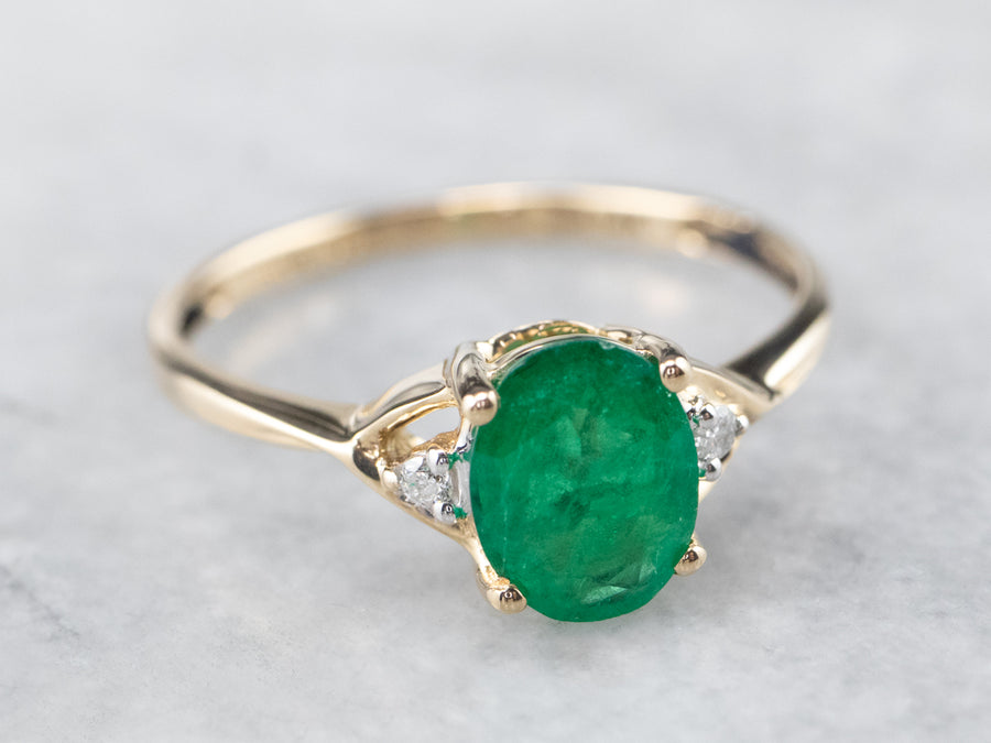 Emerald Diamond Gold Engagement Ring