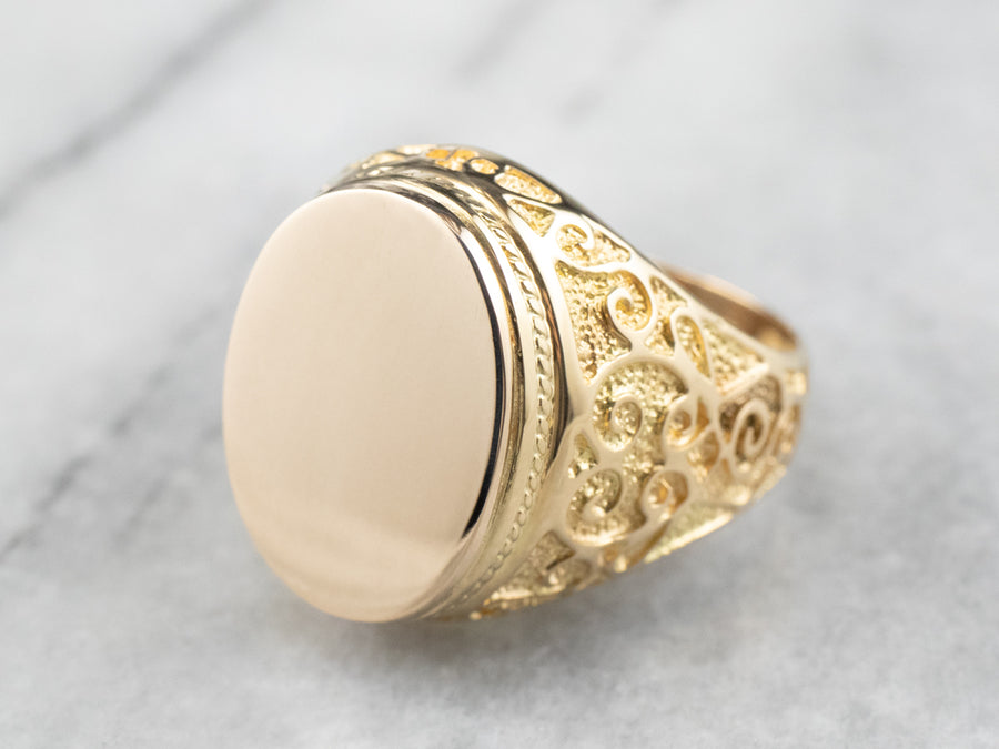 Large Ornate 18K Gold Signet Ring