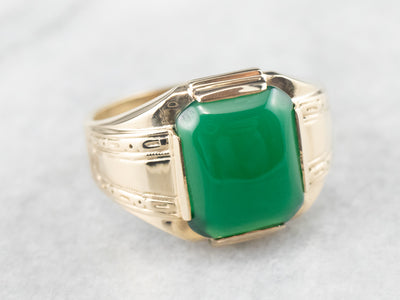 Retro Men's Green Onyx Gold Statement Ring